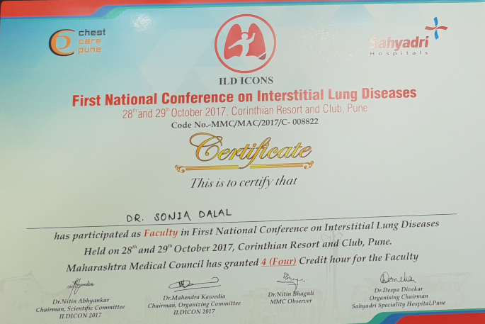 FIRST NATIONAL CONFERENCE ON INTERSTITIAL LUNG DISEASES KALYAN CHEST CENTRE VADODARA GUJARAT